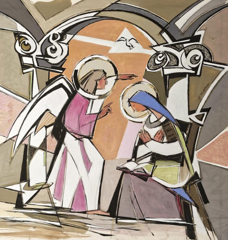 L'annonciation d'après Fra Angelico - 90x90